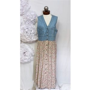 Vintage 90's denim floral grunge maxi dress Small